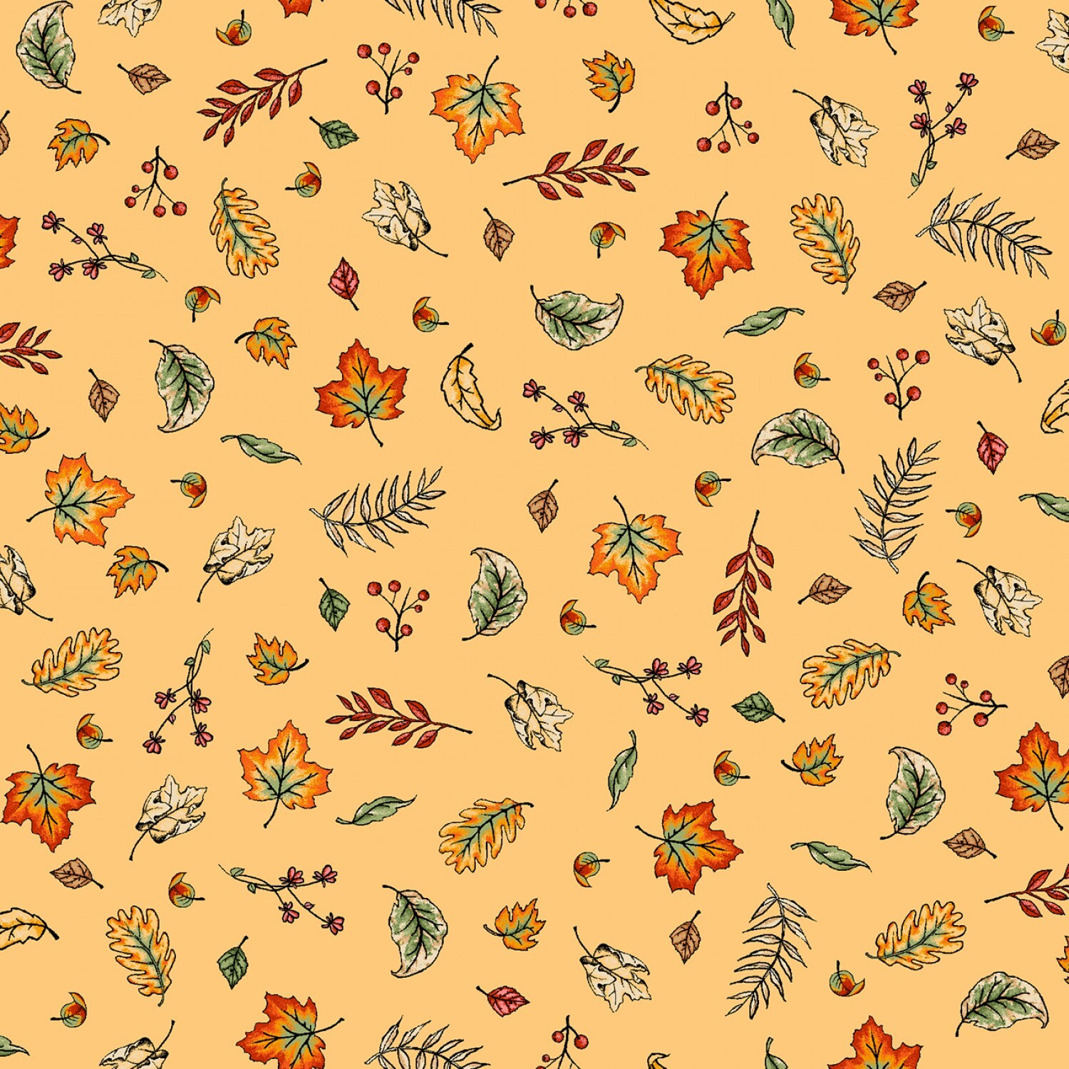 Sweater Weather - Yellow Blowing Leaves - 1/2m cut 57984