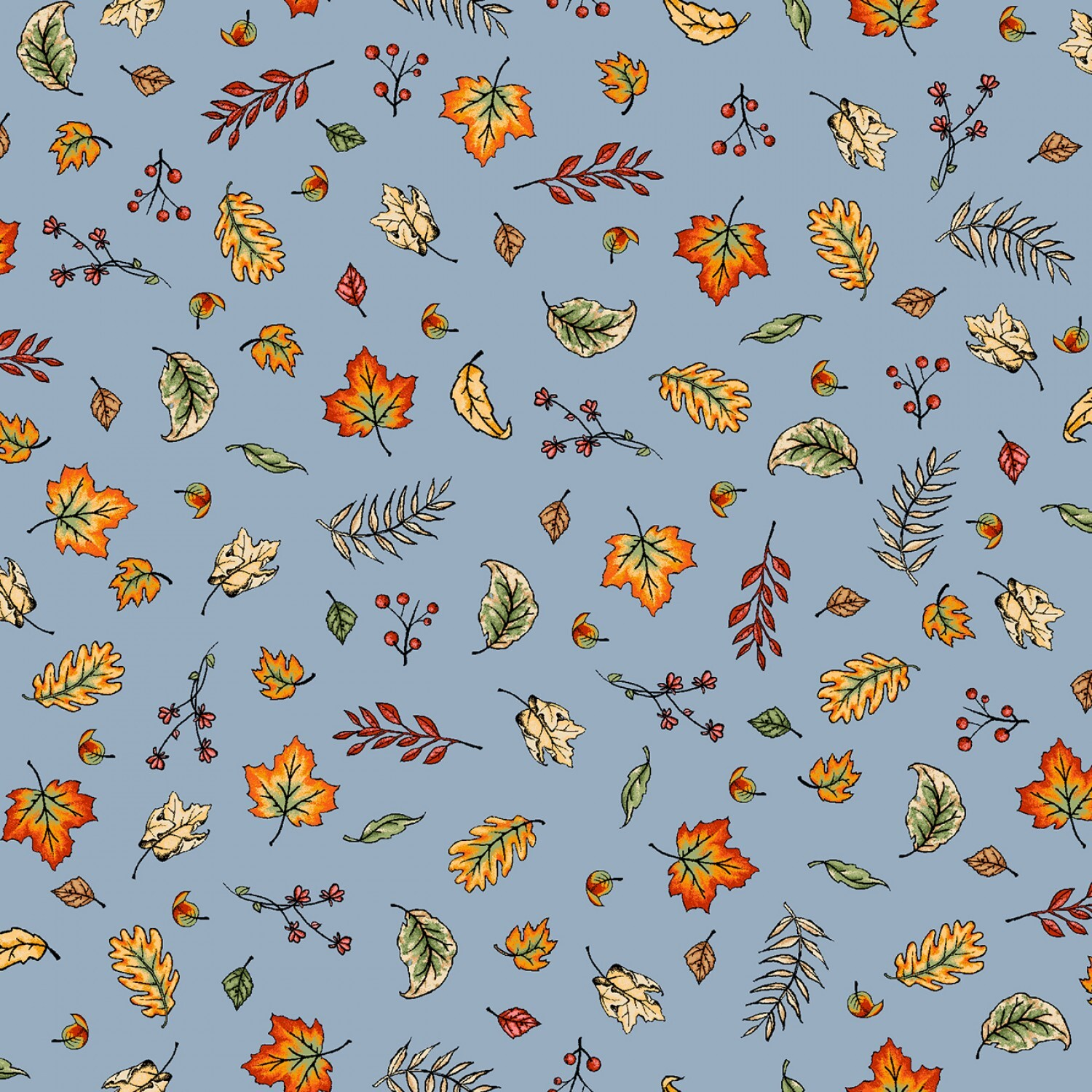 Sweater Weather - Blue Blowing Leaves - 1/2m cut 57980