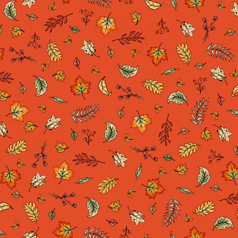 Sweater Weather - Orange Blowing Leaves - 1/2m cut 57983