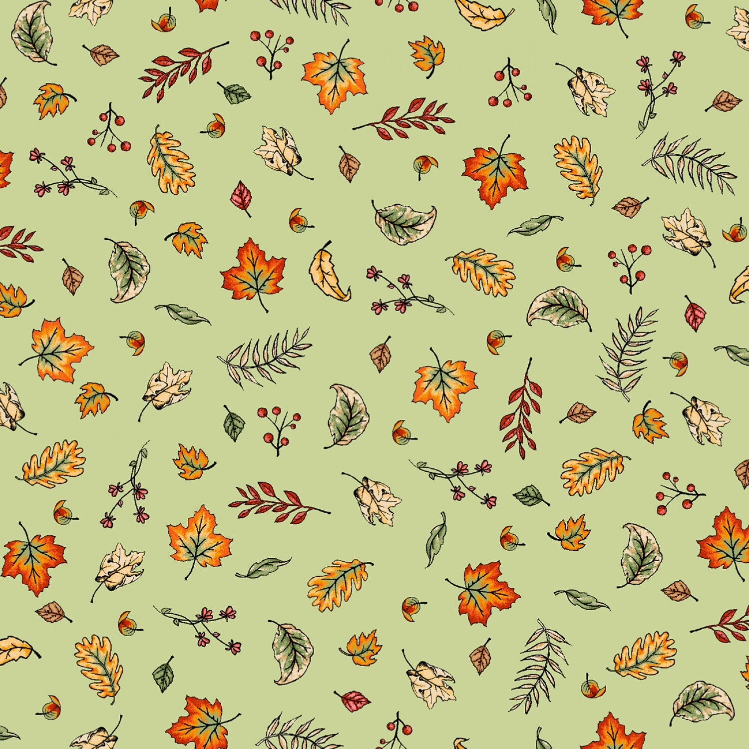 Sweater Weather - Green Blowing Leaves - 1/2m cut 57982