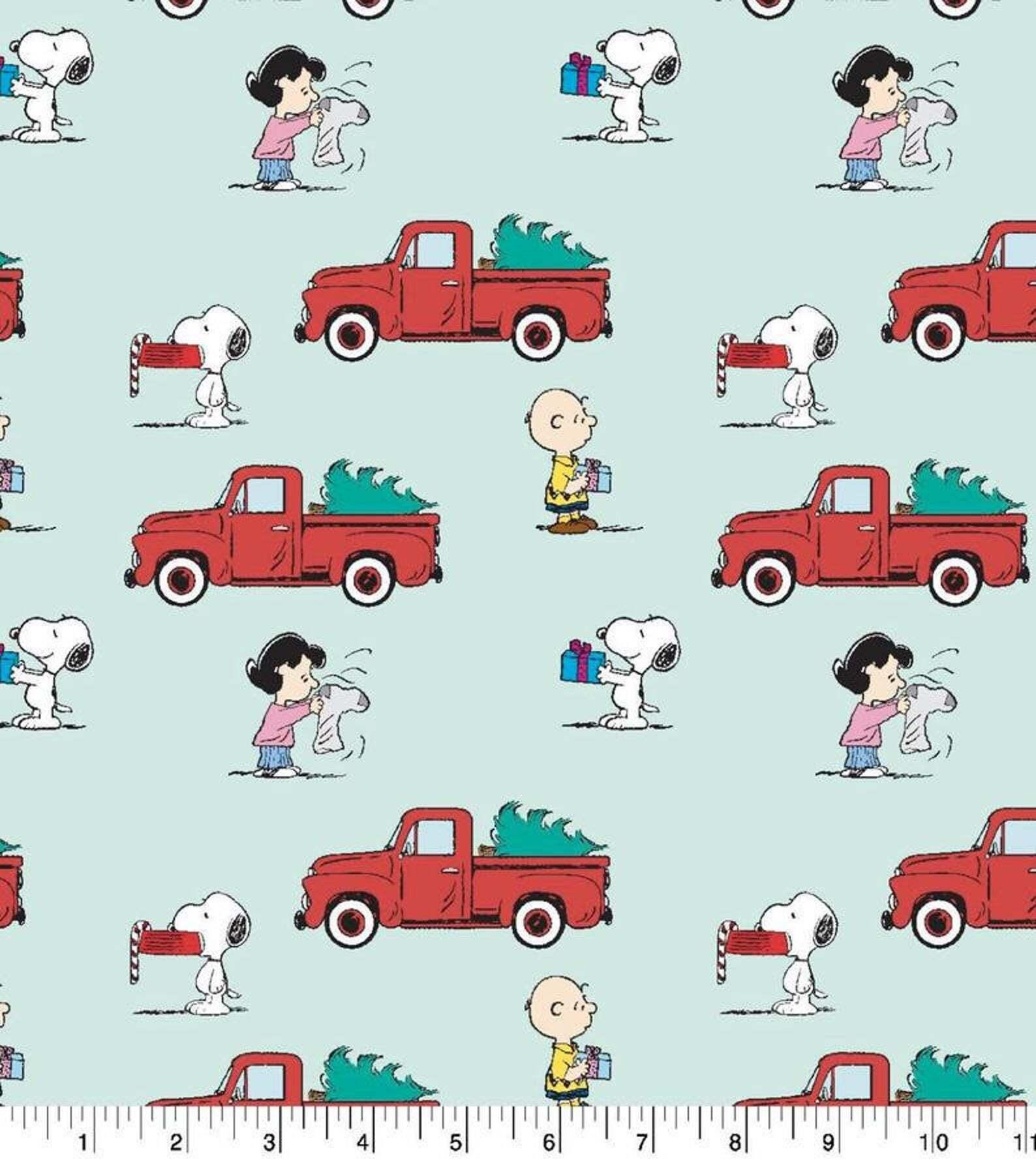 Peanuts Christmas - Red Truck - 1/2m cut 57989