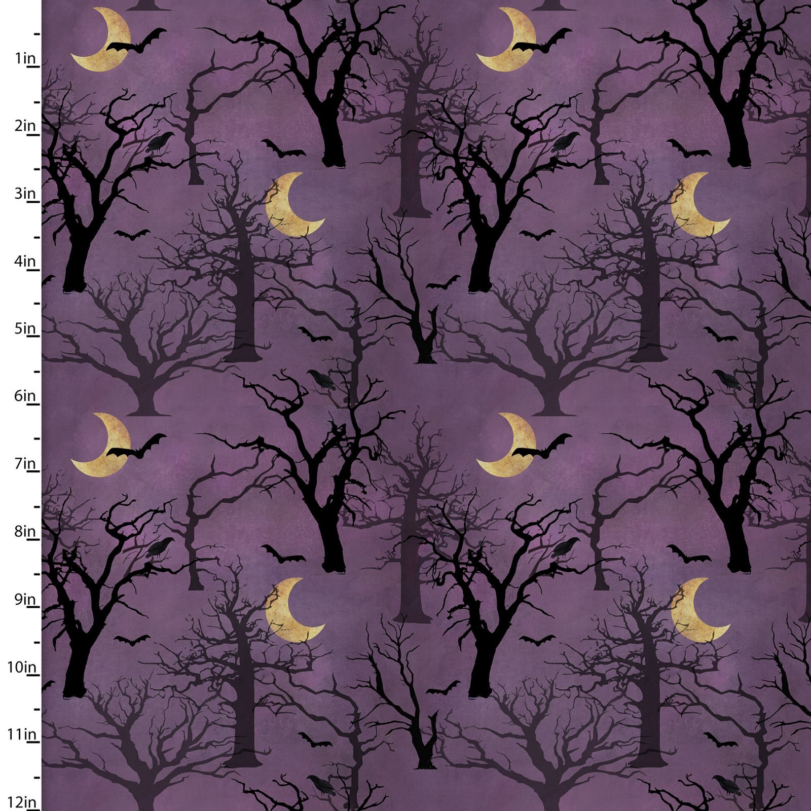 Spooky Night - Trees and Moons - 1/2m cut 57994