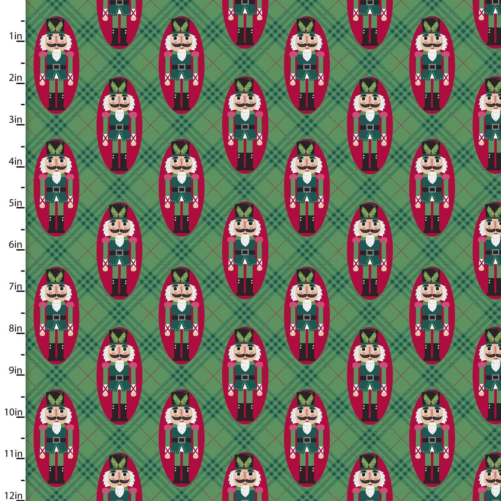 Holiday Wonder - Nutcrackers on Green Plaid - 1/2m cut 58000