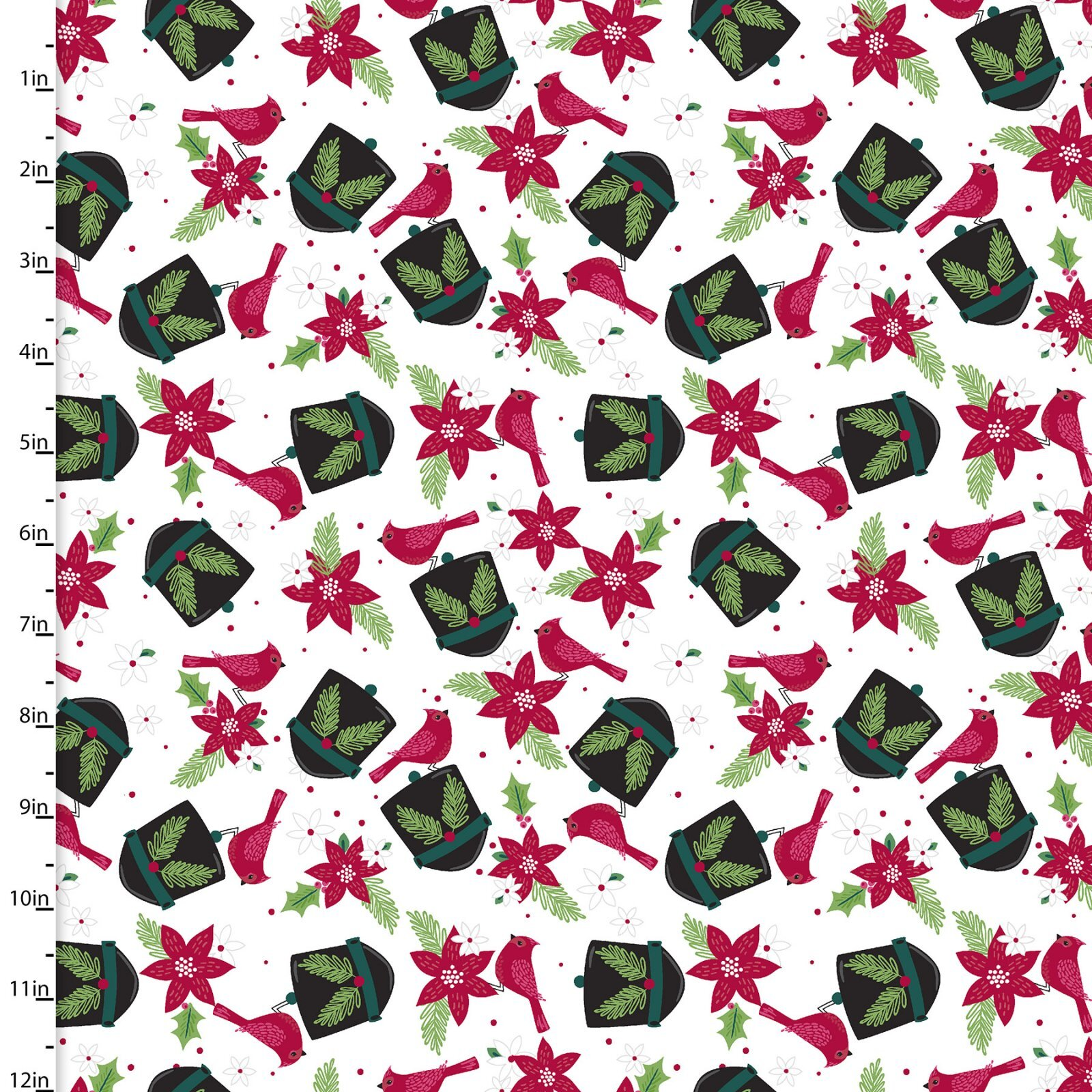 Holiday Wonder - Cardinals on White - 1/2m cut 57999