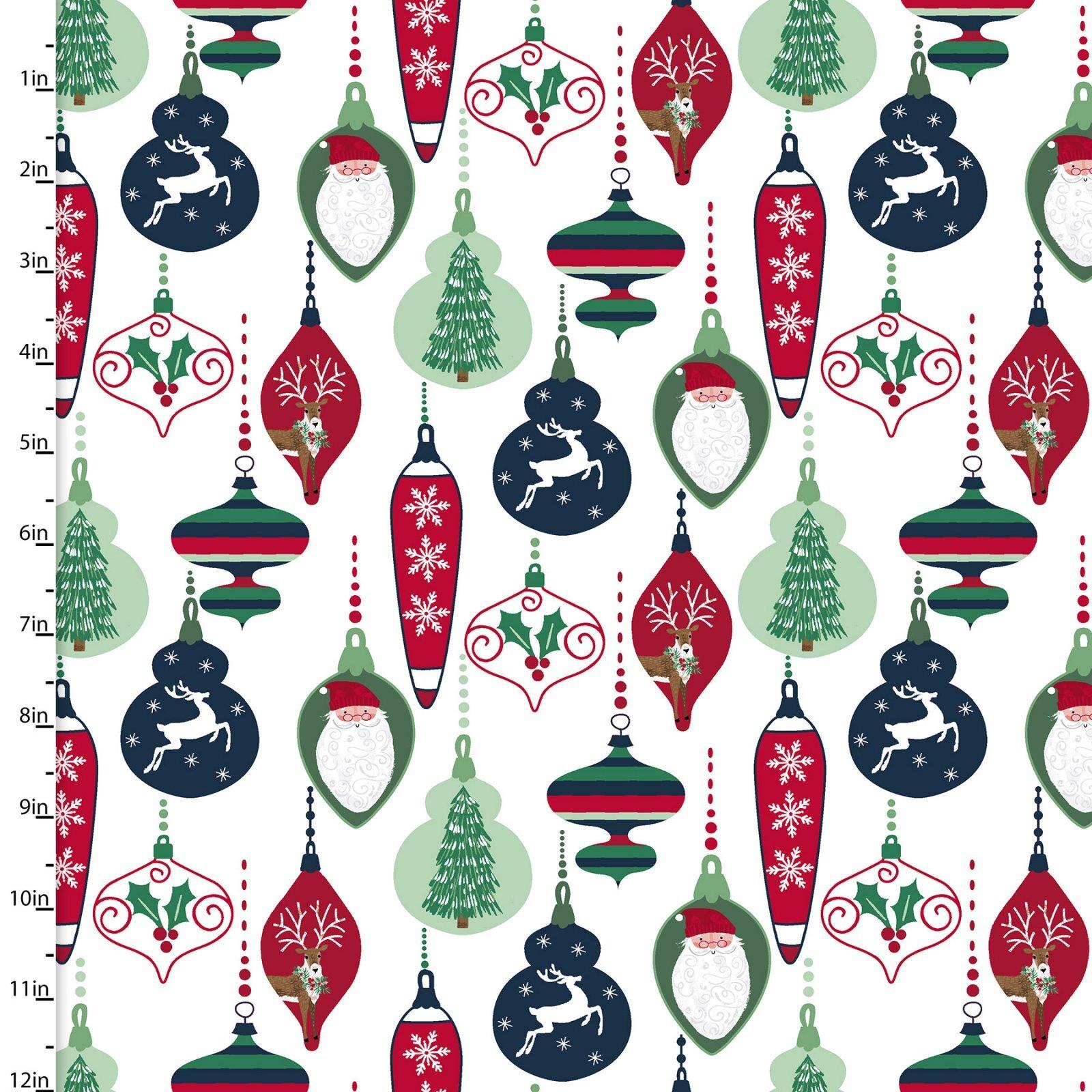 Believe - Vintage Ornaments on White - 1/2m cut 58003