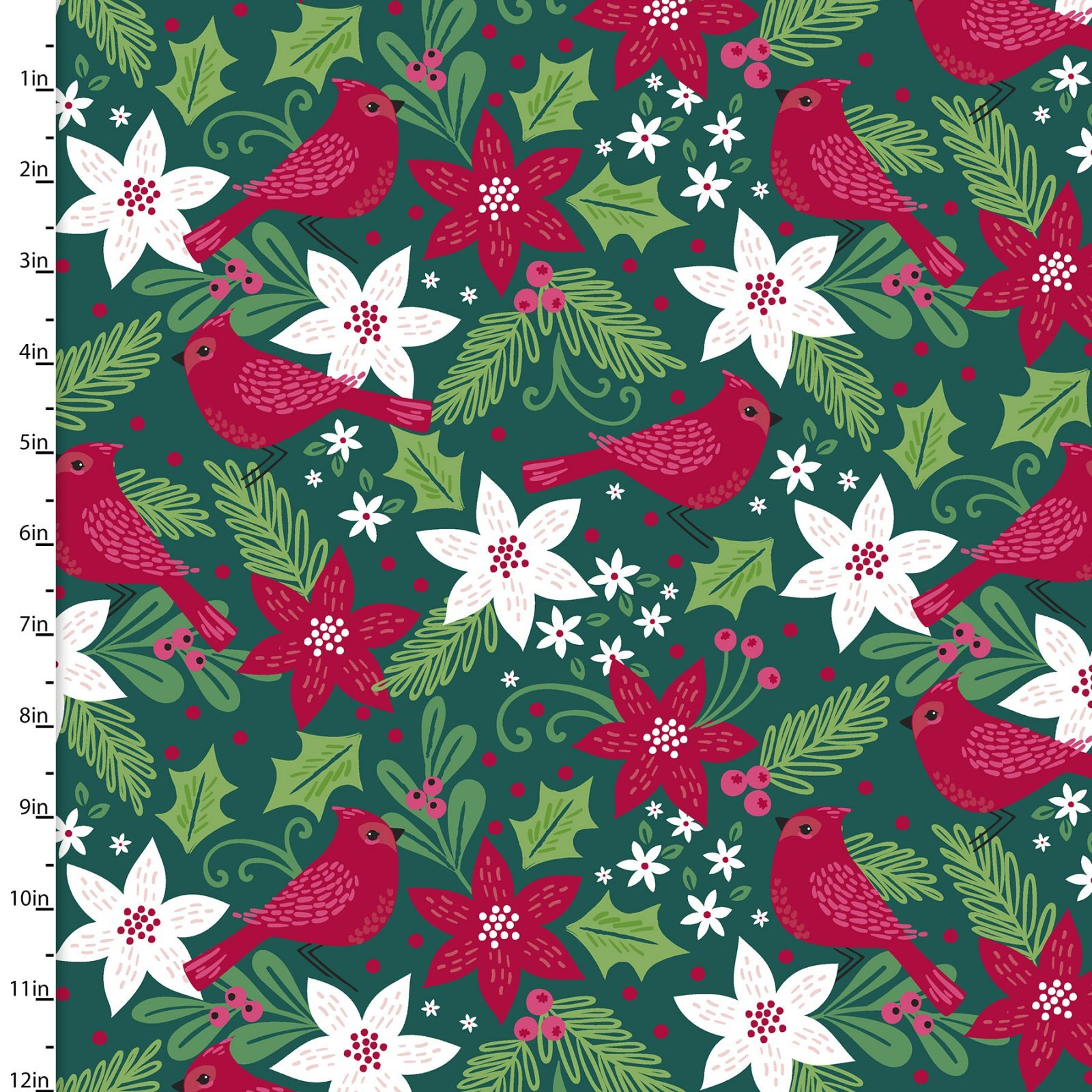 Holiday Wonder - Cardinals and Poinsettias on Green - 1/2m cut 58001