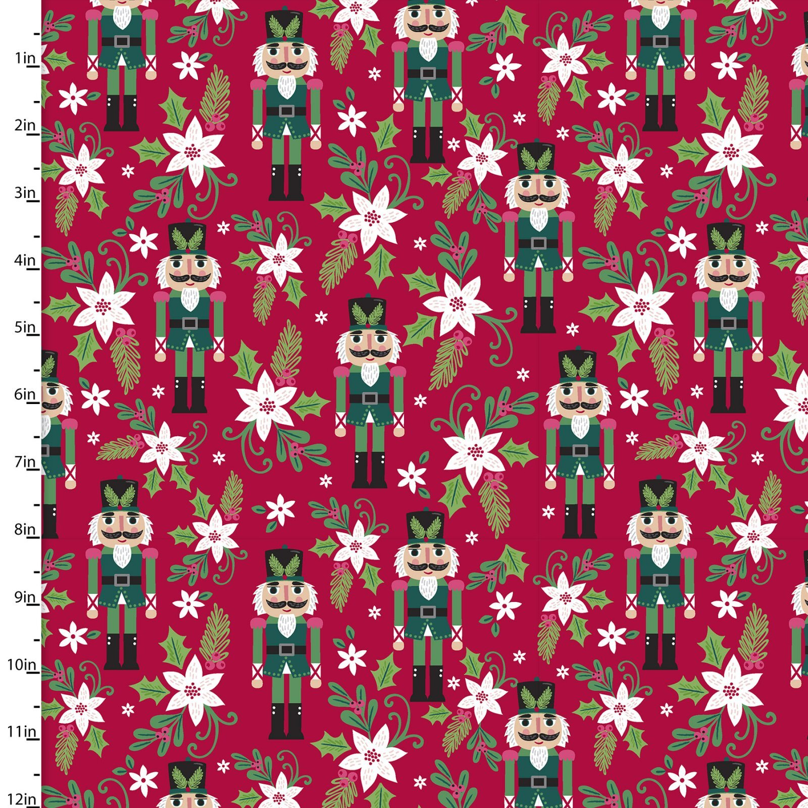 Holiday Wonder - Nutcrackers on Red - 1/2m cut 57997