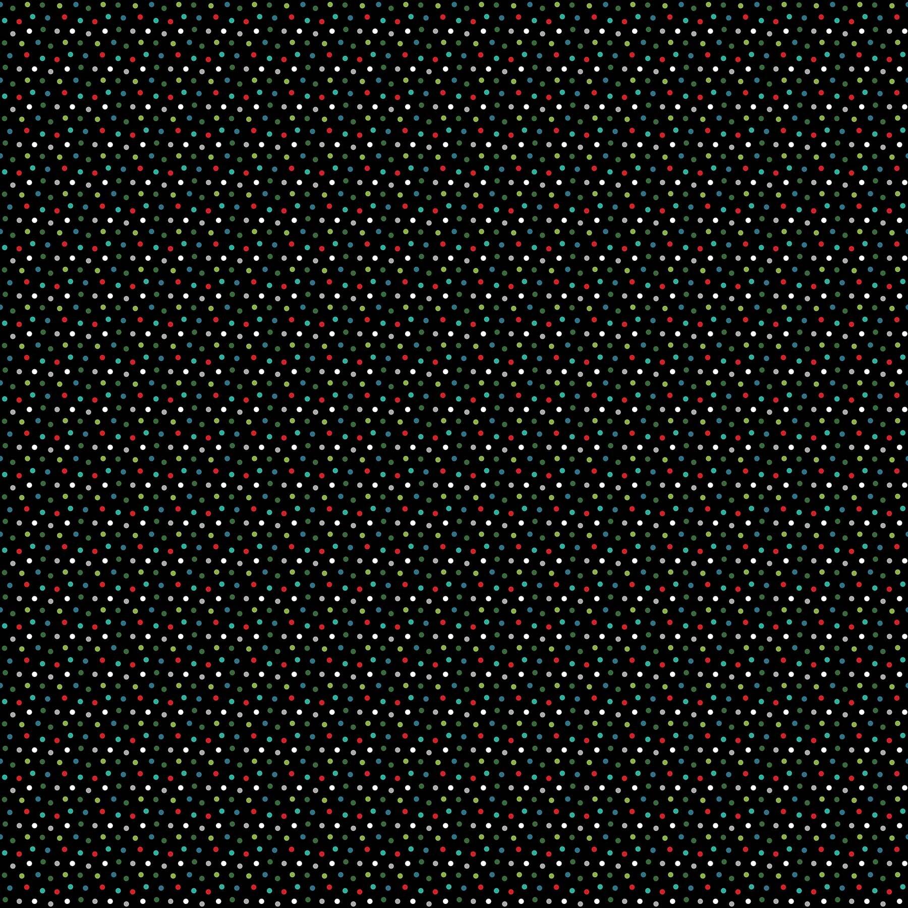 Santa Paws - Polka Dots on Black - 1/2m cut 58031