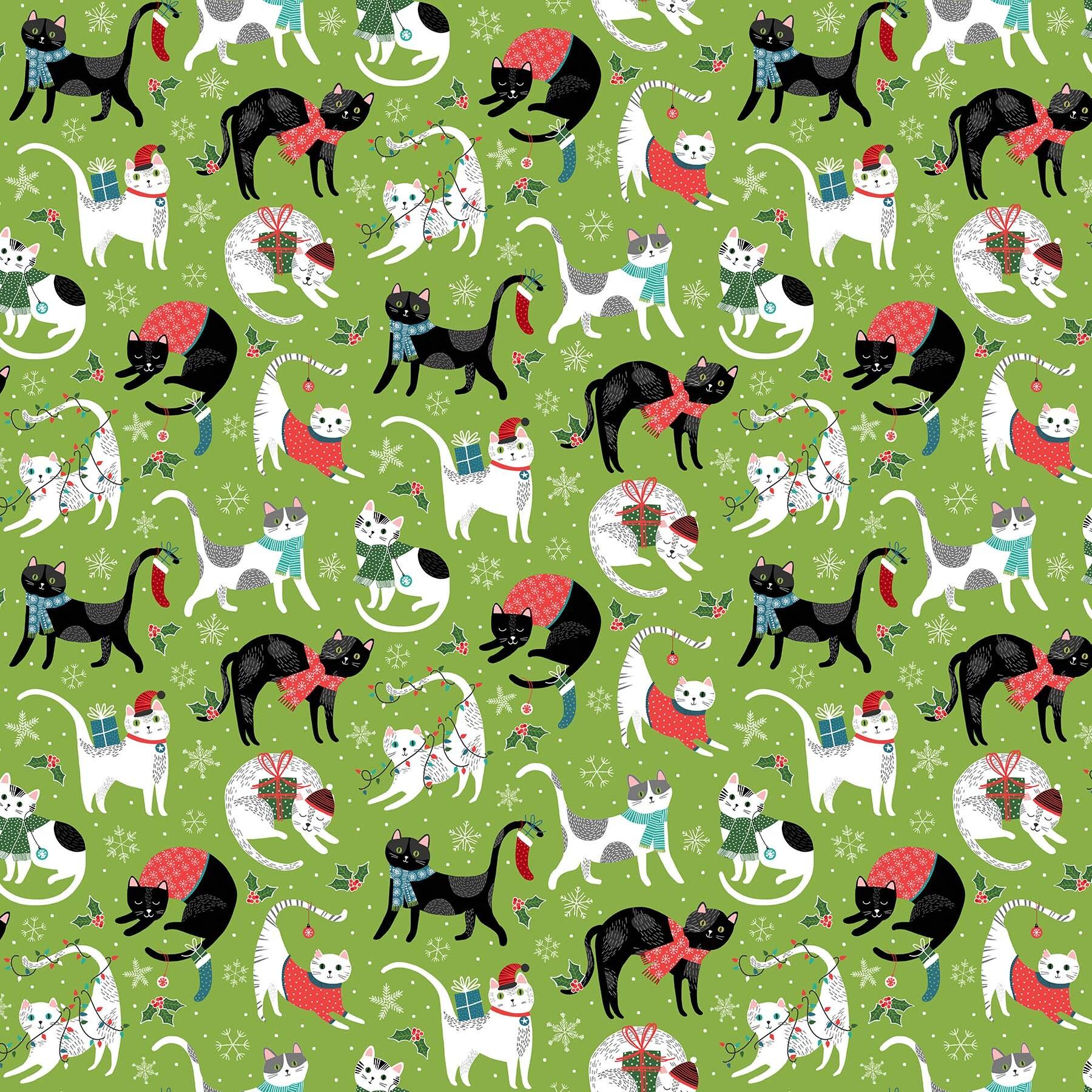 Santa Paws - Green Allover Cats - 1/2m cut 58020