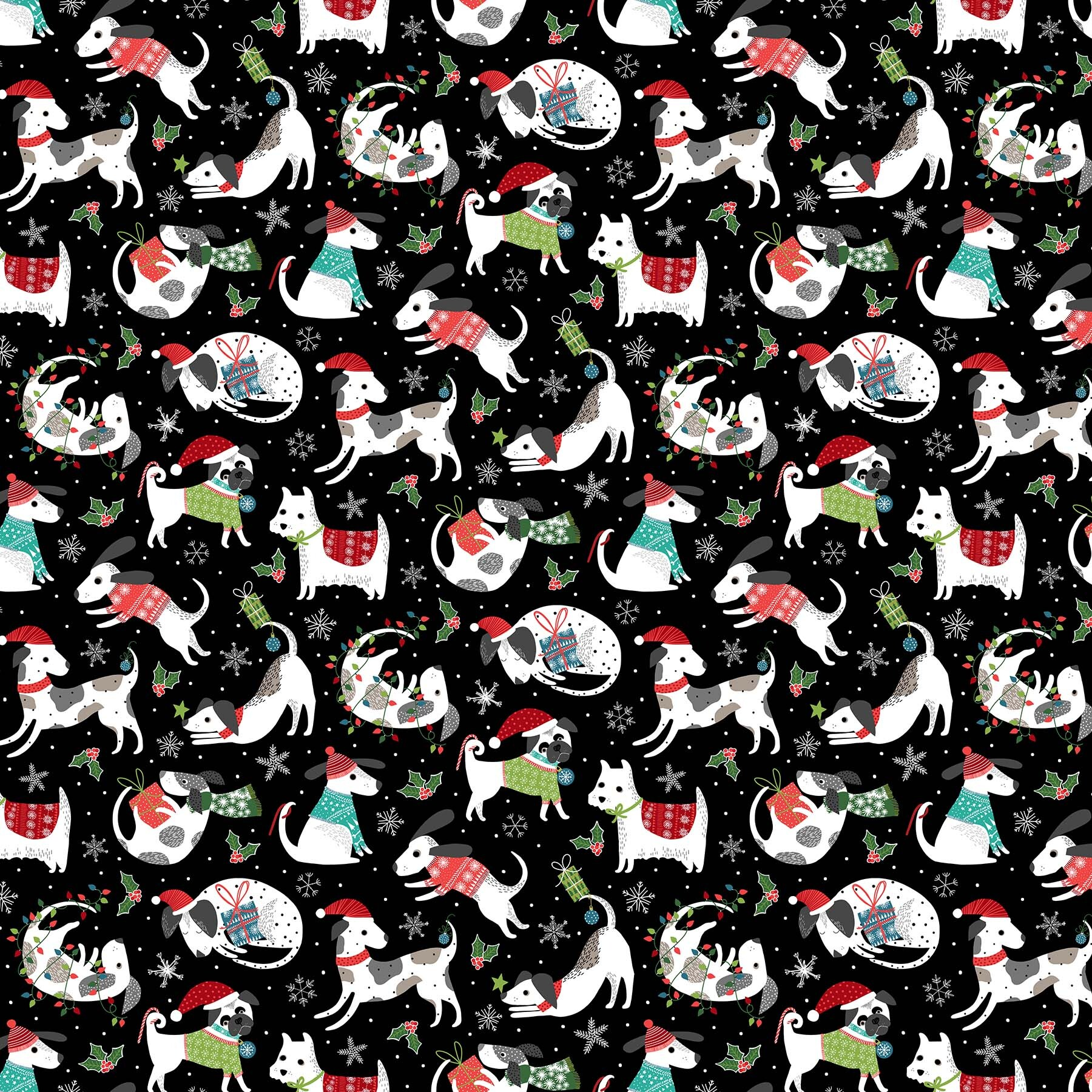 Santa Paws - Black Allover Dogs - 1/2m cut 58023
