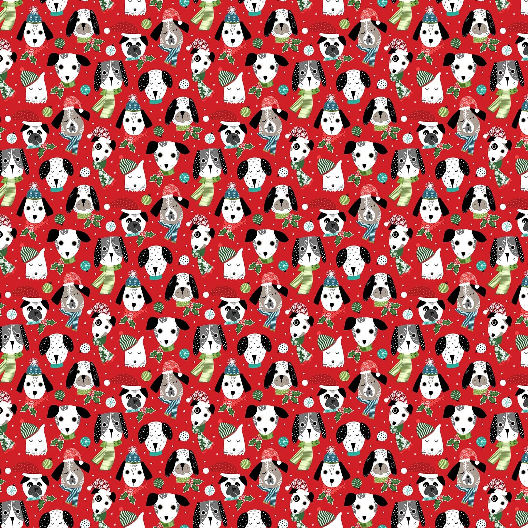 Santa Paws - Red Dog Faces - 1/2m cut 58024