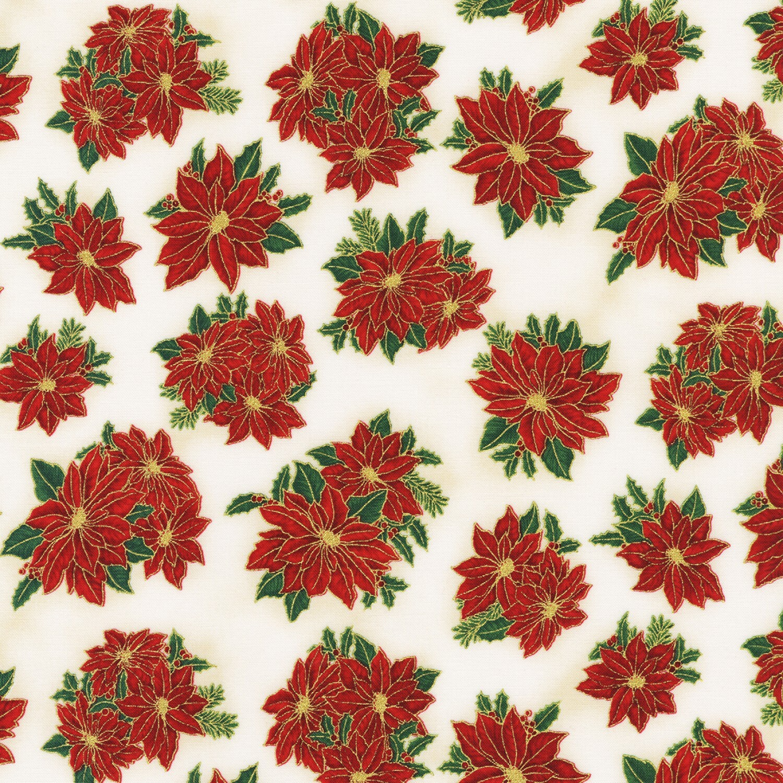 Holiday Charms - Poinsettias on Cream - 1/2m cut 58040