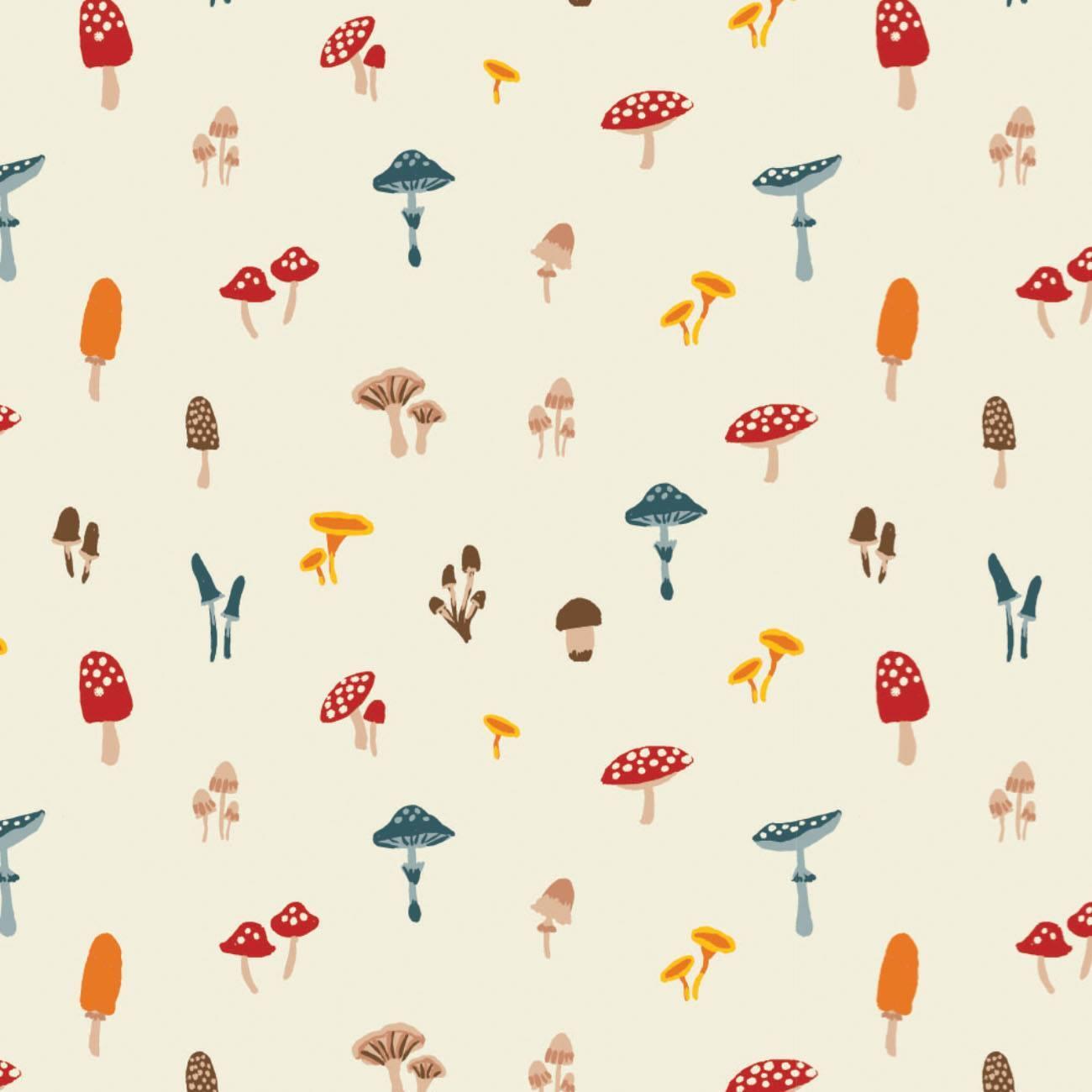 Sweater Weather - Cream Mushrooms - 1/2m cut 58055