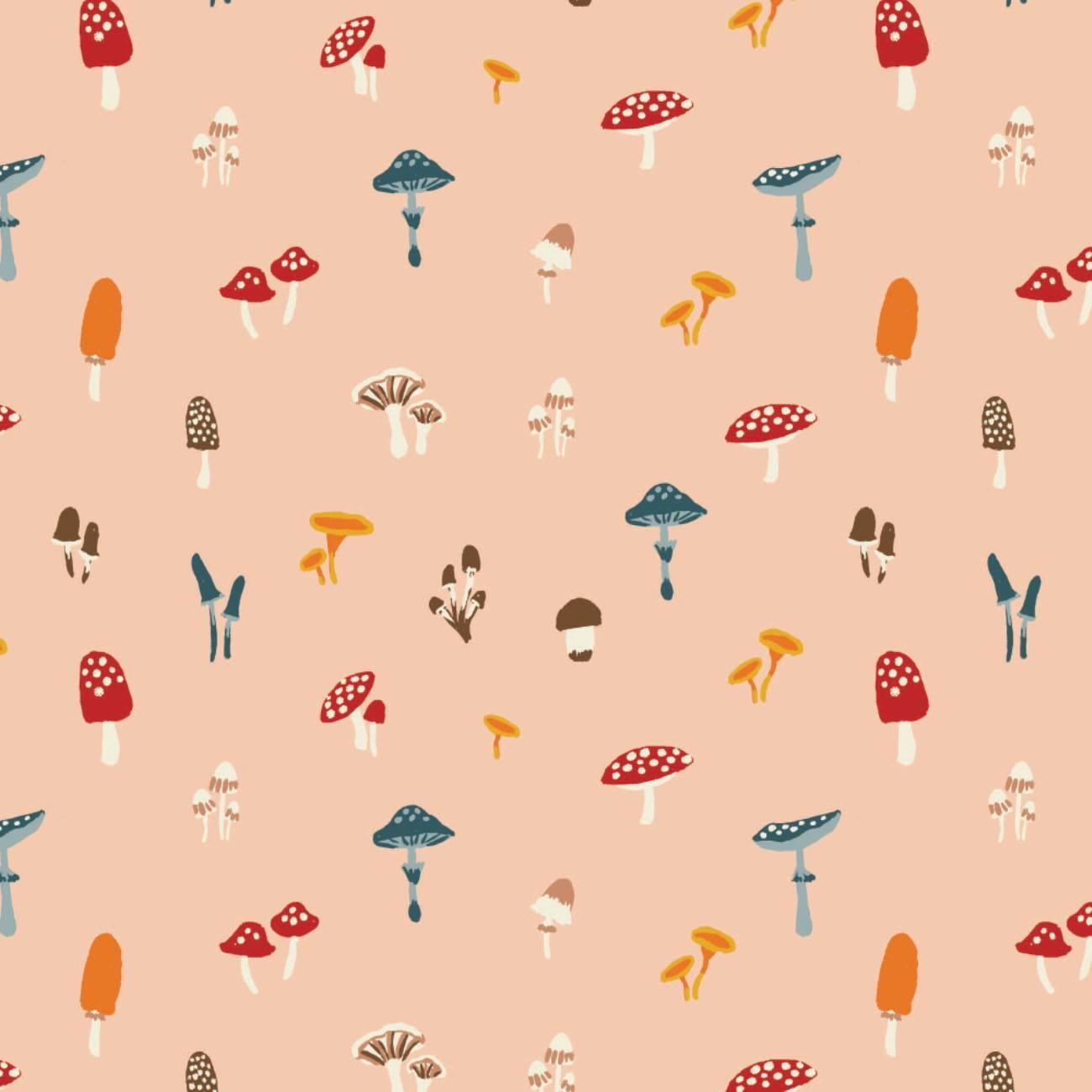 Sweater Weather - Peach Mushrooms - 1/2m cut 58057