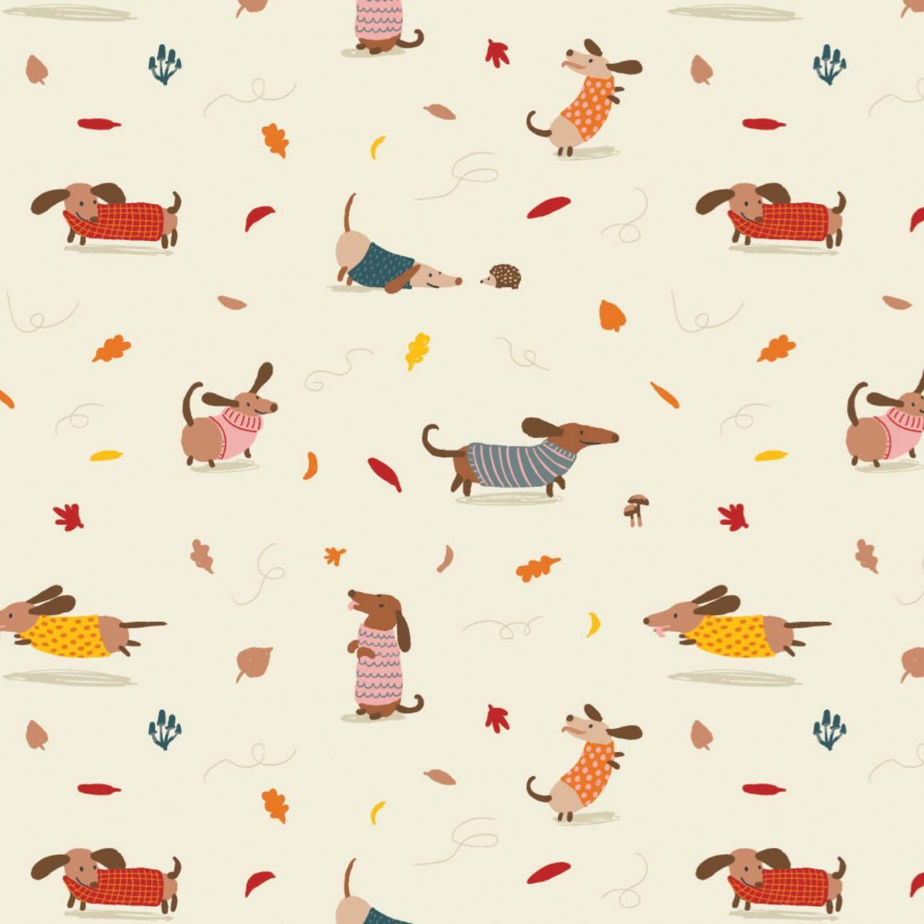 Sweater Weather - Cream Dogs - 1/2m cut 58053