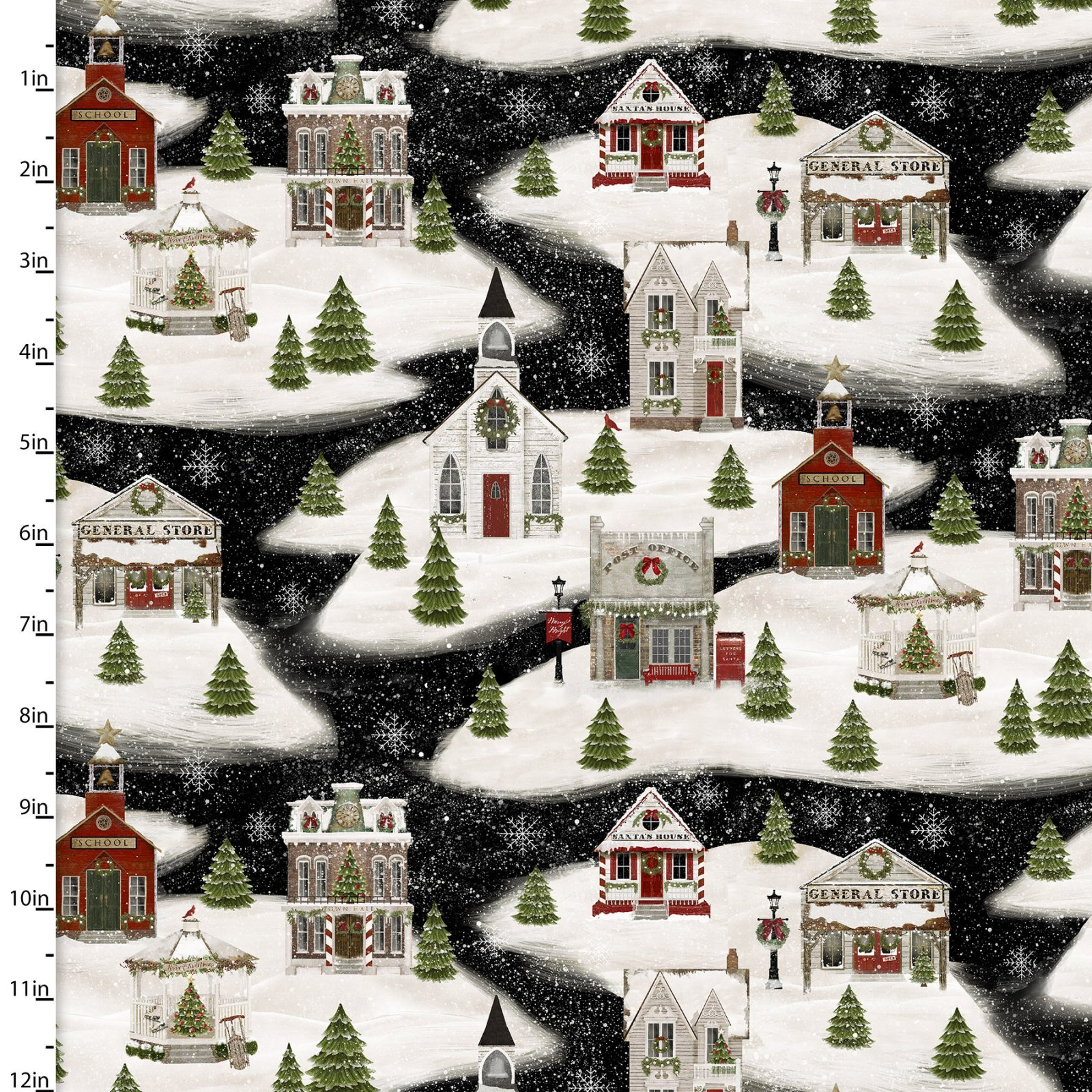 Home for the Holidays - Houses on Black - 1/2m cut 58062