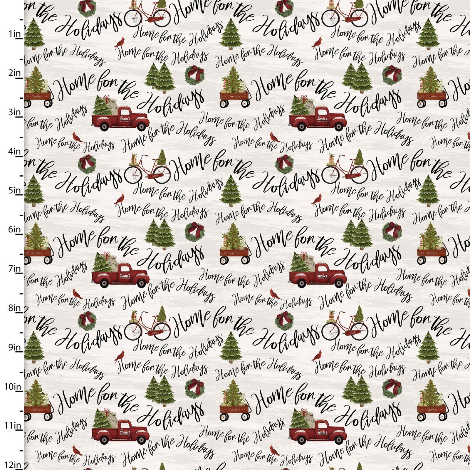Home for the Holidays - Red Trucks and Writing - 1/2m cut 58069