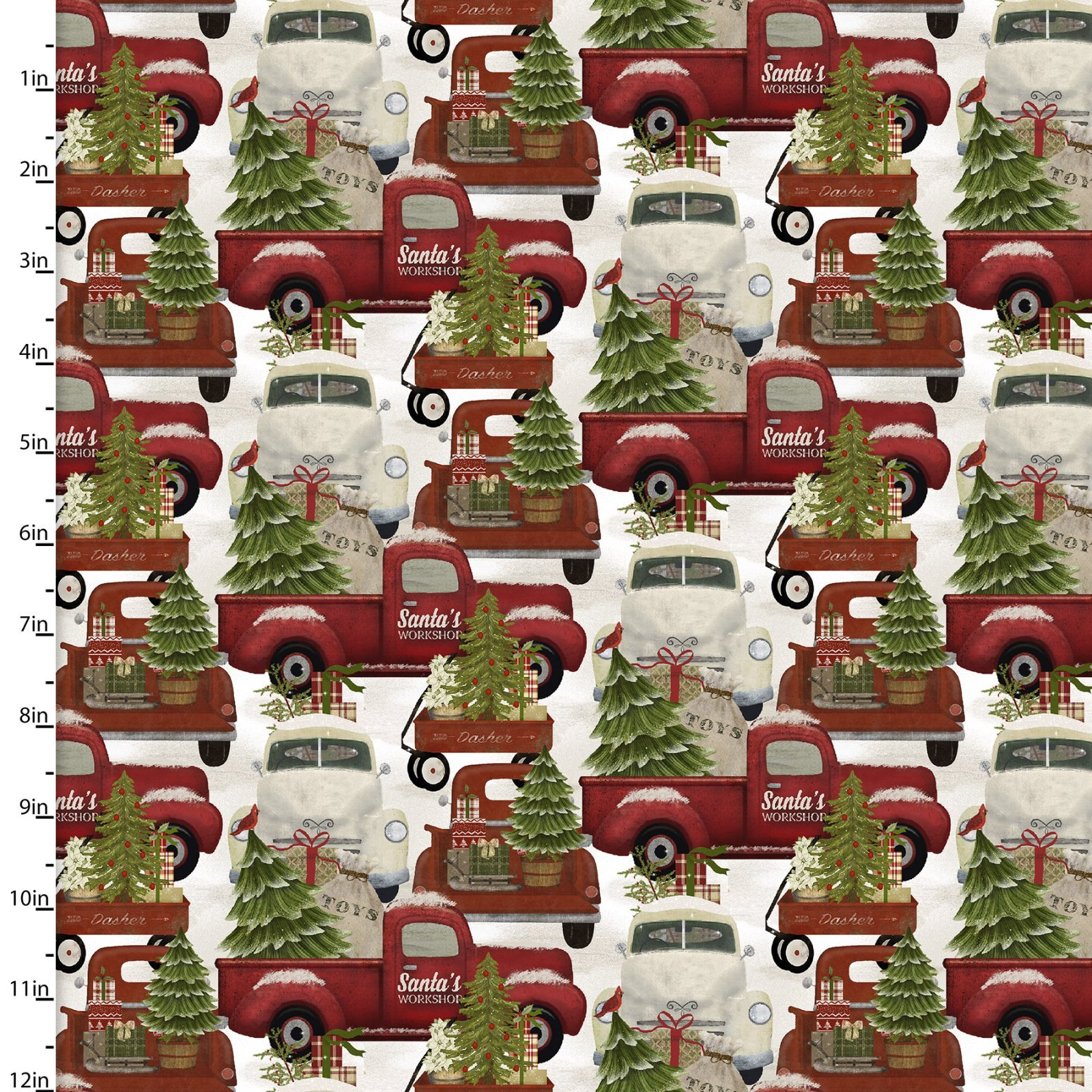 Home for the Holidays - Red Trucks - 1/2m cut 58070