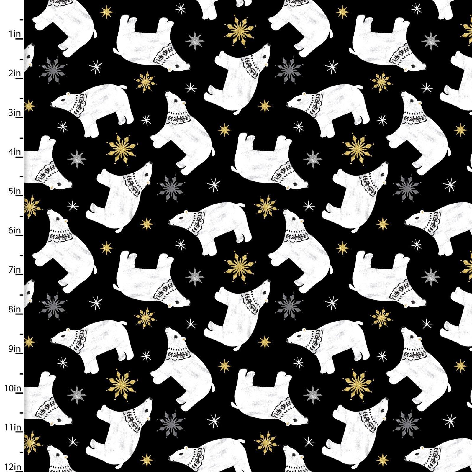 Peace on Earth - Polar Bears on Black - 1/2m cut 58093