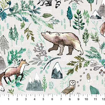 Forest Fable - Animals on Taupe - 1/2m cut 58113