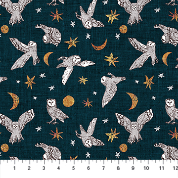 Forest Fable - Owls on Navy - 1/2m cut 58114