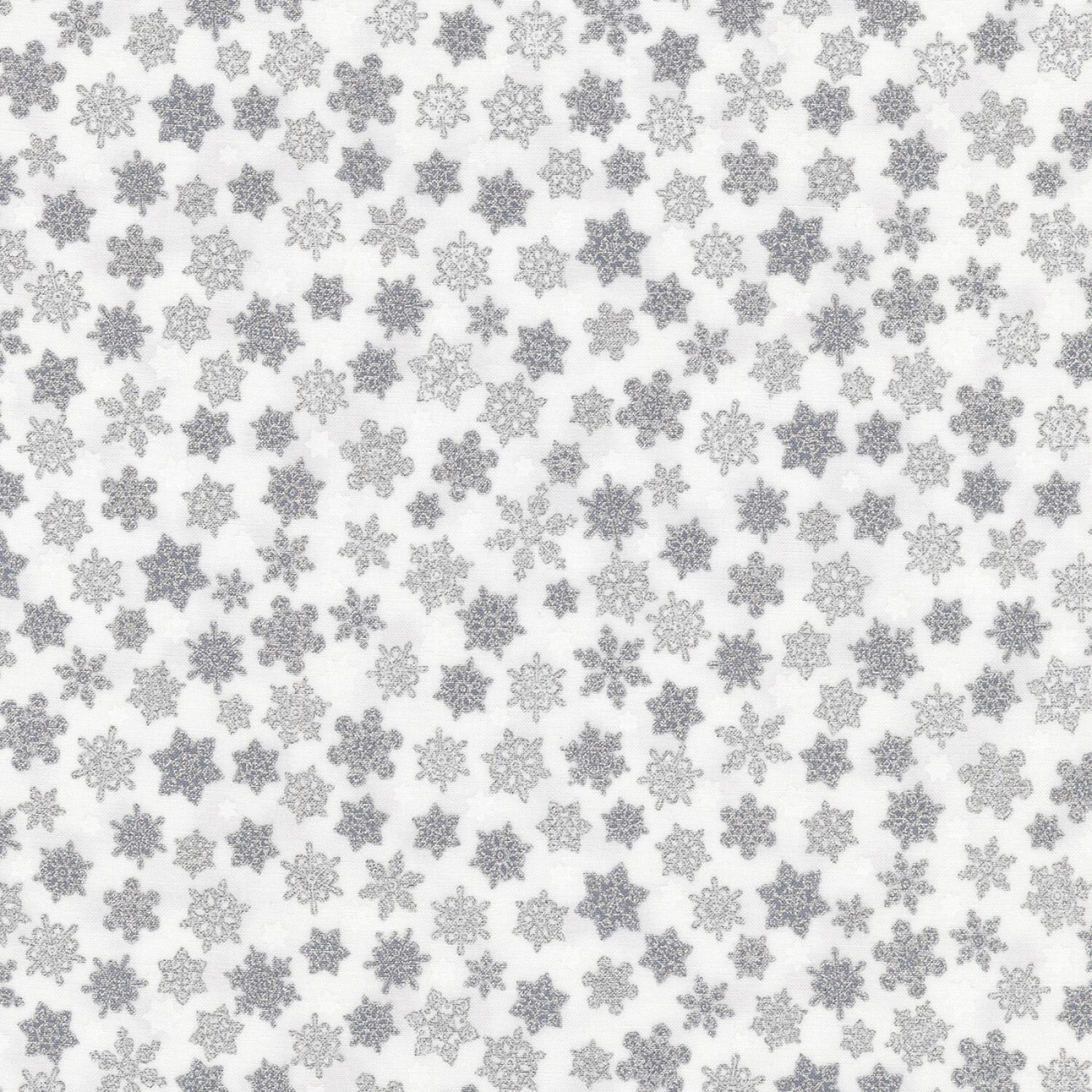 Holiday Charms - Silver Snowflakes on White - 1/2m cut 58119
