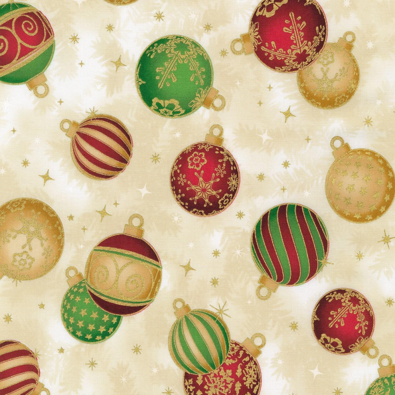 Holiday Flourish - Gold Ornaments - 1/2m cut 58124