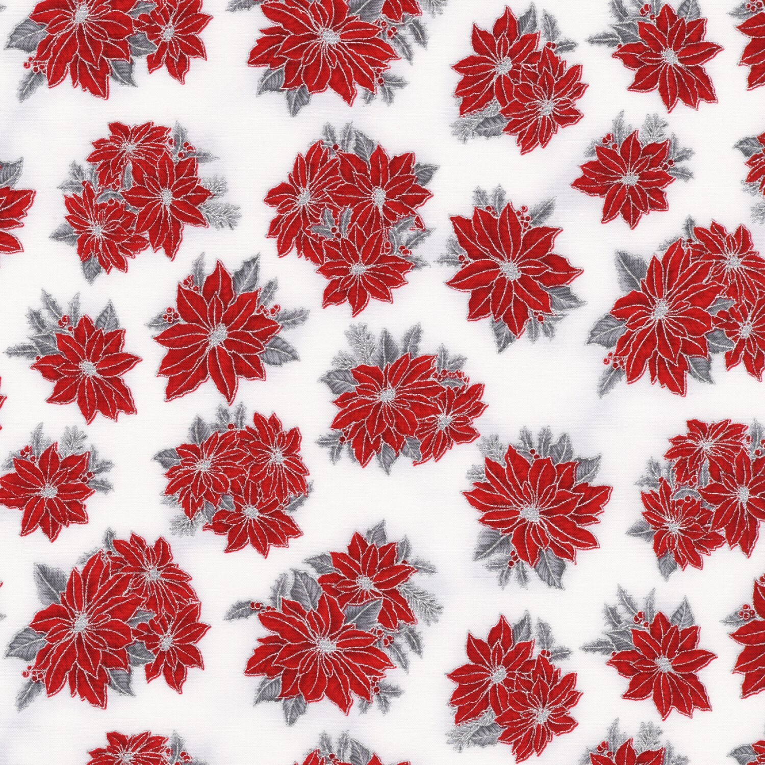 Holiday Charms - Poinsettias on White - 1/2m cut 58115