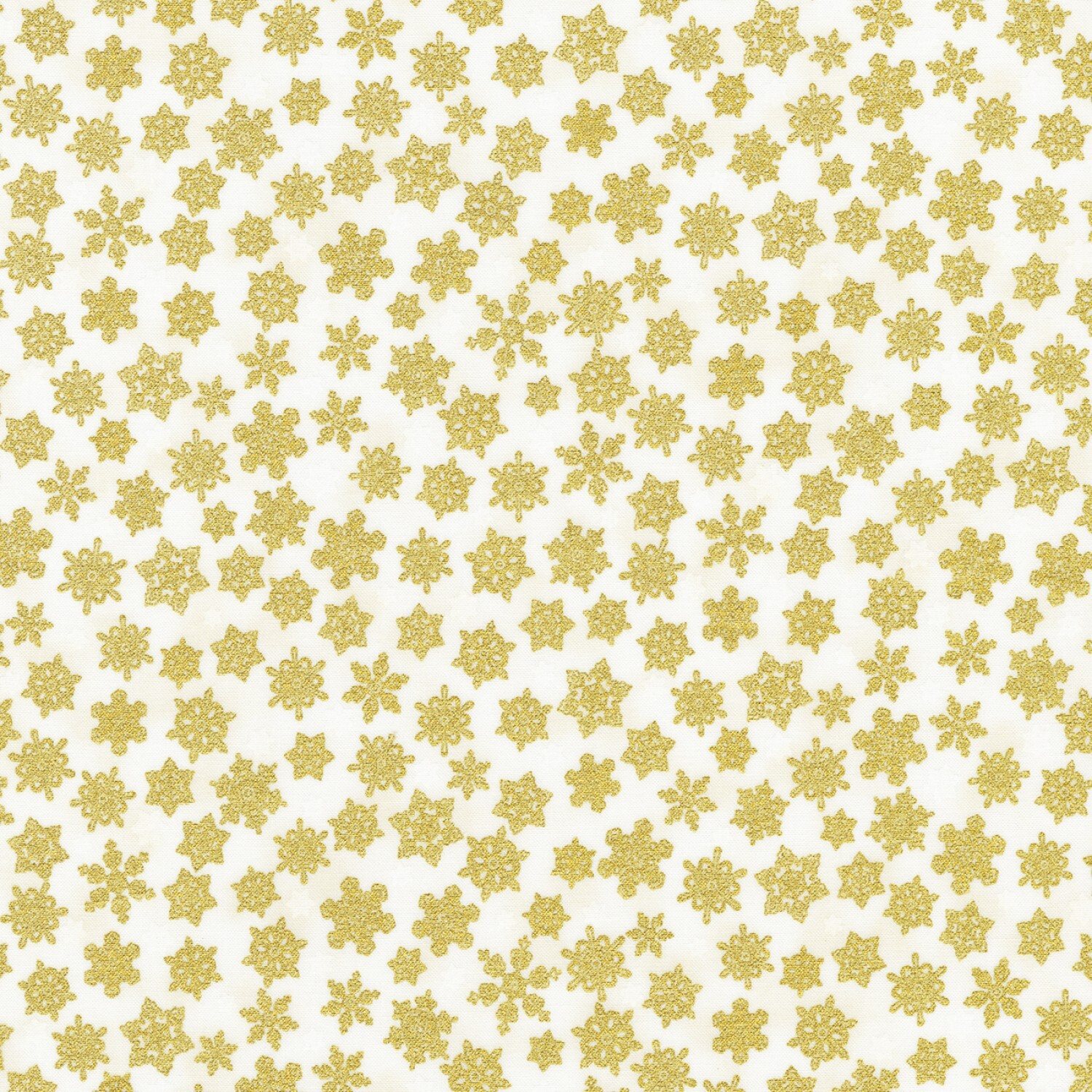 Holiday Charms - Gold Snowflakes on White - 1/2m cut 58118