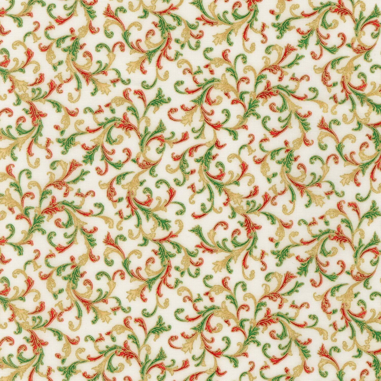 Holiday Flourish - Gold Scroll - 1/2m cut 58125