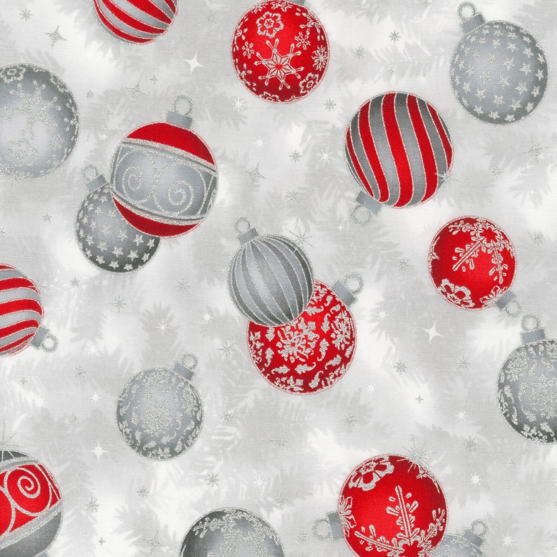Holiday Flourish - Silver Ornaments - 1/2m cut 58129