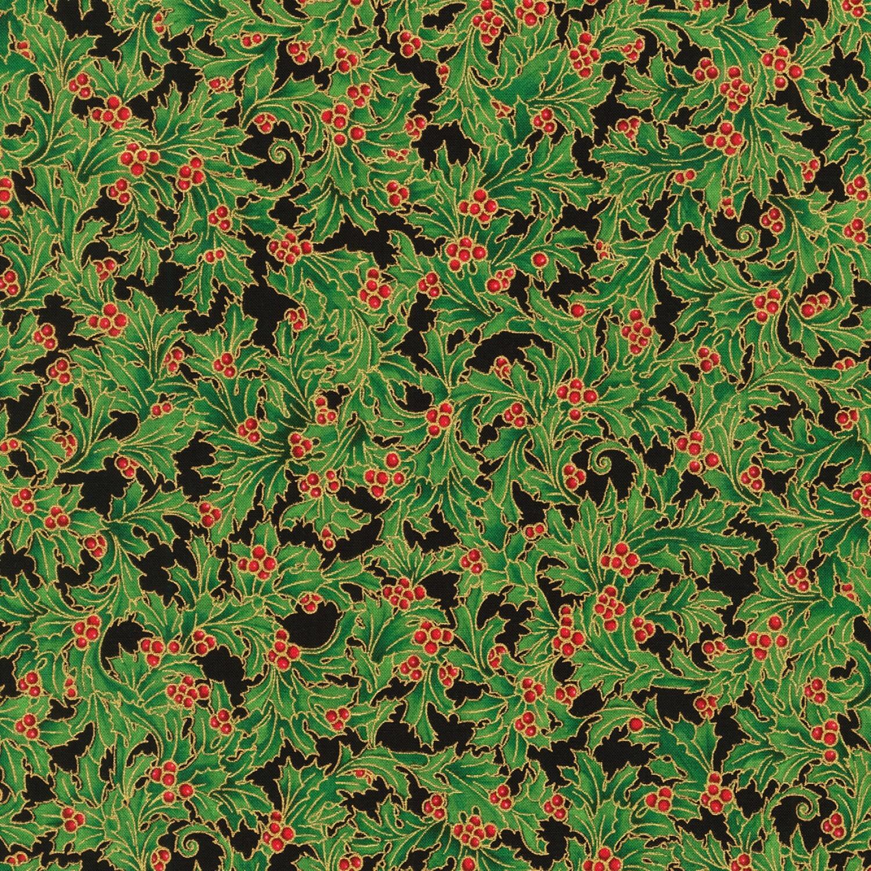 Holiday Flourish - Green Holly - 1/2m cut 58126