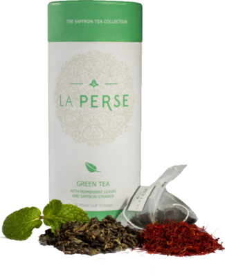 La Perse Green tea with Peppermint Leaves and Saffron Strands - 18 Tea Bags