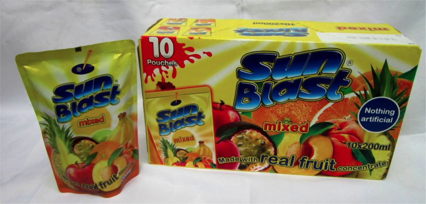 SUNBLAST MIXED FRUIT JUICE - BOX OF 10  (200 ml pouch)