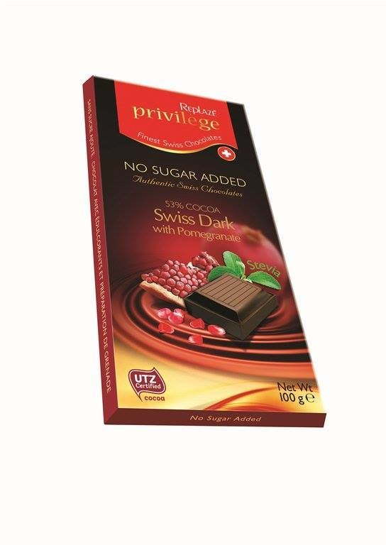 Replaze Privilege 53% Swiss Dark with Stevia - 100 gms