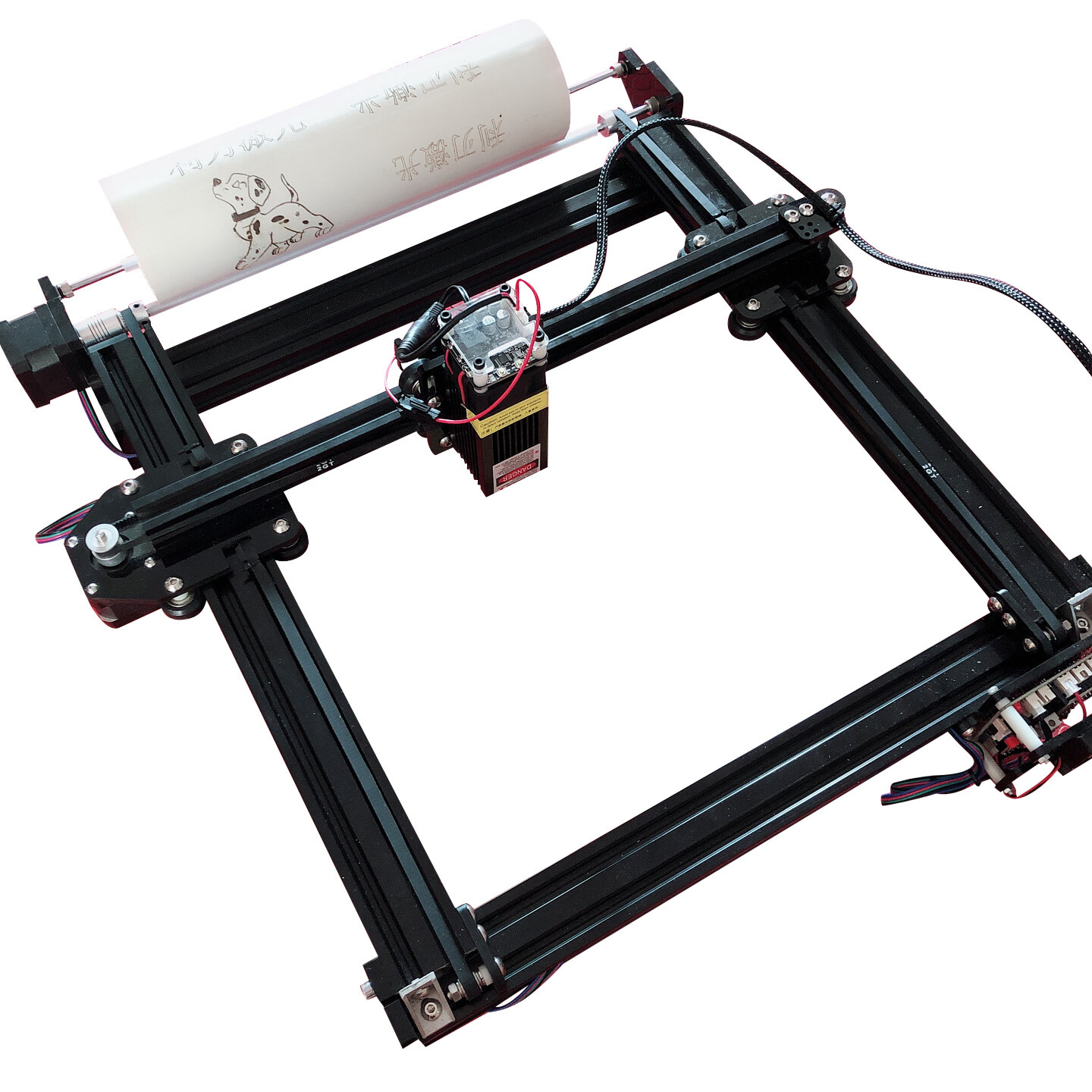 Laseraxe Desktop Laser Engraver with self A-axis design can engraving cylinder support CAD 21X29cm area 500mW-7000mW