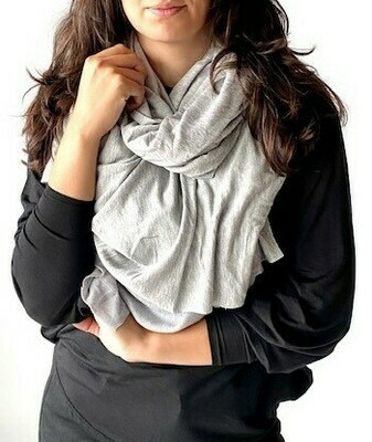 LARGE SCARF -FRENCH TERRY LIGHT GREY-