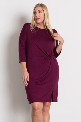 KNIT KNOT SHORT DRESS -BURGUNDY-