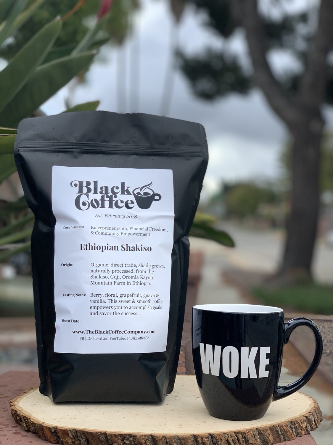 """WOKE"" Mug & 3lbs of Organic Whole ""Black Coffee"" Beans"