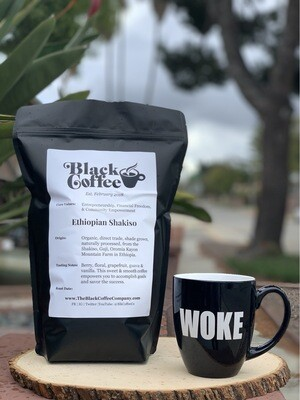 """WOKE"" Mug + 3lbs of Organic Whole ""Black Coffee"" Beans"