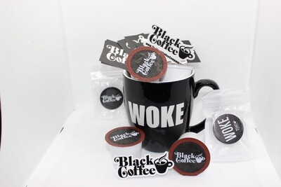 """The Coffee Lover's Starter Pack"" Black Coffee Co. Hoodie, Engraved ""Woke"" coffee mug, 8oz Coffee Beans, 12 K-Cups, & Pop-Socket"
