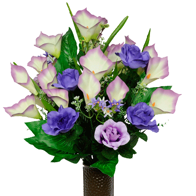 Bouquet #1: Purple Rose And Calla Lily Mix