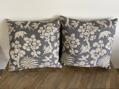 Scatter cushion in a linen print of forest animals