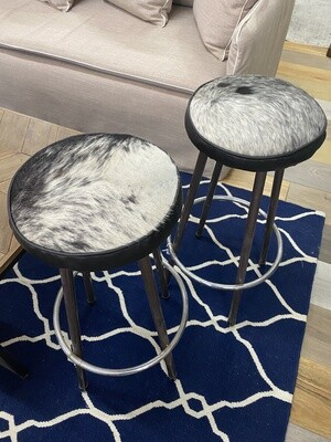 Pair of bar stools with cow hide seat