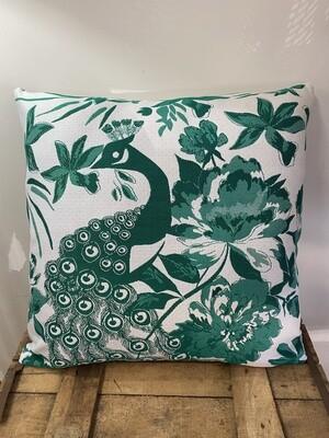 Indoor/Outdoor scatter cushion - Peacock in Emerald