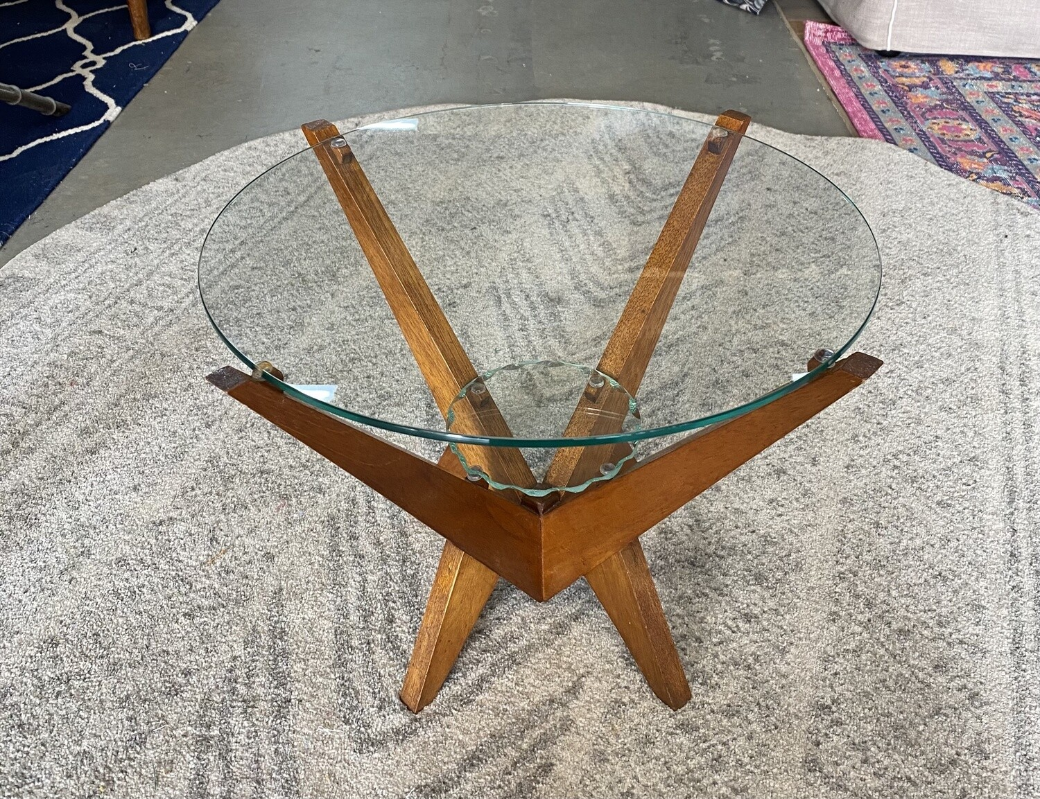 Midcentury side table with glass top