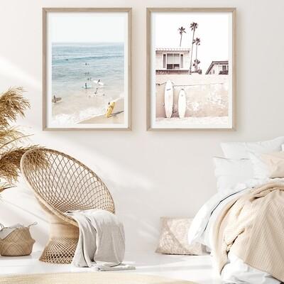 Vintage Beach Days II and Surf Day Framed Set *SAVE*