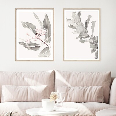 Soft Gum Blossoms & Fiddle Fig Leaves Set - SAVE on a pair!