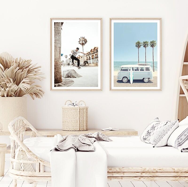 Vintage Beach Skater & Beach Van (portrait) Set