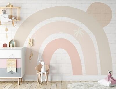 Boho Bricks & Rainbow Removable Wallpaper Mural